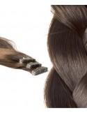 Mèche Naturelle extensions cheveux russes ondulés brun clair