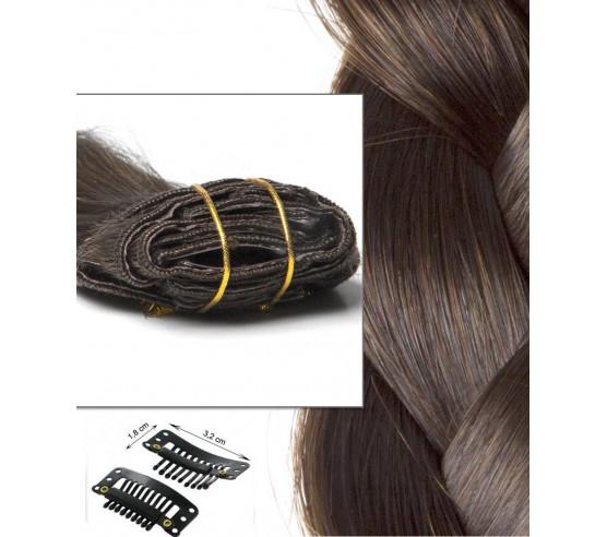 Extension cheveux russe en Clip Châtain