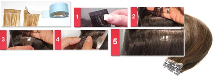 extensions de cheveux russes en bandes adhésive